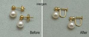 真珠のピアスをイヤリングに加工