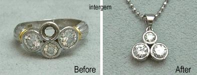 ダイヤモンドリングをペンダント加工