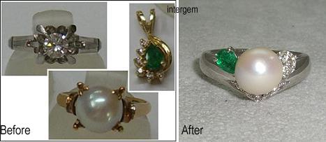 真珠とダイヤモンドリング、エメラルドのペンダント