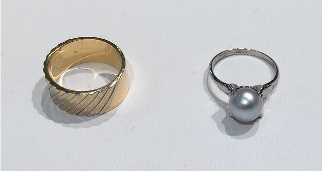 幅広リングと真珠のリングをジュエリーリフォーム
