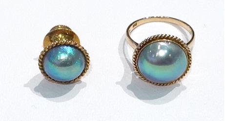 Bifore:アワビの半形養殖真珠のタイタックとリングをジュエリーリフォーム