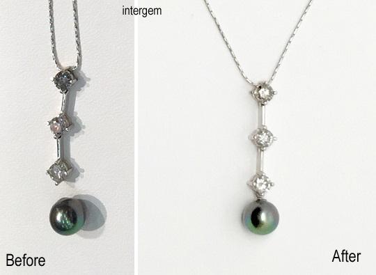 3個連なったダイヤモンドペンダント+黒真珠