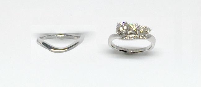 ジュエリーリフォームした結婚指輪がダイヤモンドファッションリングと婚約指輪が結婚指輪にジュエリーリフォーム